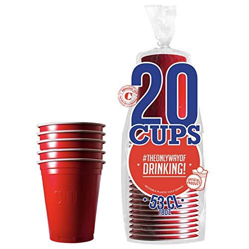 Pack de x20 Original Red Cups Officiels | Gobelets Américains 53cl Rouges | Beer Pong | Qualité Premium | Gobelets en Plastique Réutilisables | Lavables Main ou Lave-Vaisselle | OriginalCup®
