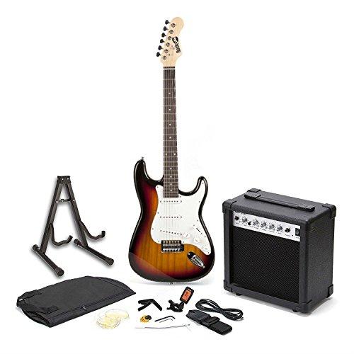 Rockjam Schermo Intero Chitarra Elettrica Superkit con Il Caso Cinghia della Chitarra Guitar Tuner Chitarra Amplificatore per Chitarra e Archi Cavo Nero