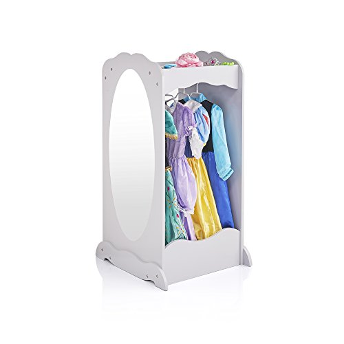 Guidecraft Dress Up Cubby Center - Grey: Kids' Armoire, Dresser with Mirror, Storage Tray and Clothes Rack - Toddler Preschool Playroom Furniture