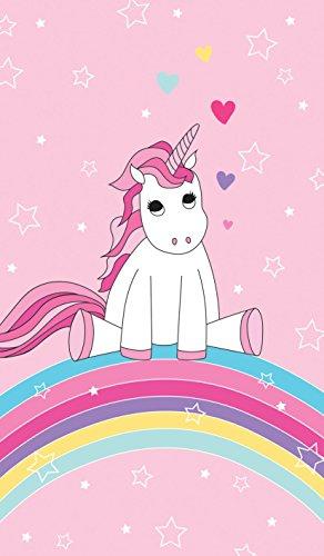 Familando schönes Einhorn Unicorn, Regenbogen, Strand-Tuch mit Sterne, Herzen Mädchen, Badetuch Schwimm-badtuch 70x140 cm, 100% Baumwolle Velours, Rosa,