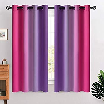 COSVIYA Grommet Ombre Room Darkening Curtains 63 inches Length for Kids/Girls Bedroom Polyester Light Blocking Pink and Purple Gradient Window Drapes/Curtains for Living Room,2 Panels 52x63 inches