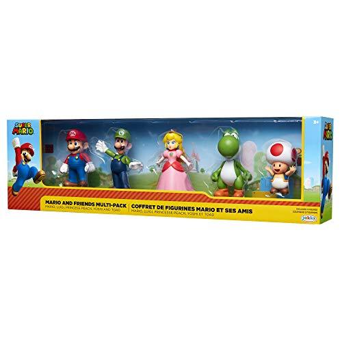 Super Mario Mario, Luigi, Princess Peach, Yoshi & Toad Exklusive 6,3 cm Minifigur, 5er-Pack