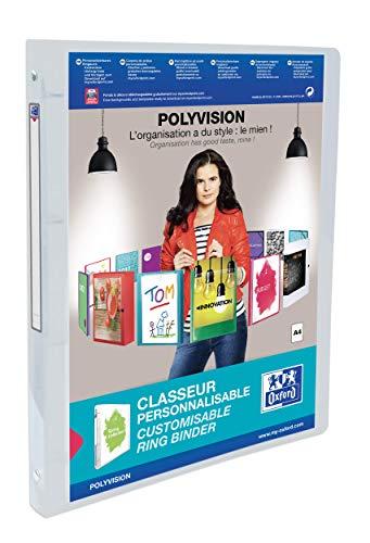 Elba 100202277 Kunststoff-Ringbuch polyvision DIN A4 mit 4 Ring-Mechanik individualisierbar Prä¤sentations-Ordner Ring-Buch Hefter Plastikordner, 2 cm breit, Farblos, transparent