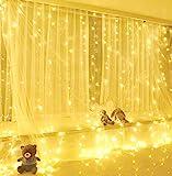 ✨【Alta qualità】 3 x 3m, 300 luci LED warm white, Filo d'argento isolato, ecologico, basso consumo energetico e risparmio energetico, alimentato da USB, nessuna necessità di sostituire la batteria. ✨【8 modalità di luci】Combinazione, ad onda, sequenzia...
