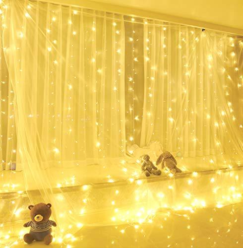 Yizhet 300LEDs lichtgordijn 3 x 3m USB lichtgordijn lichtketting LED lichtketting gordijn met 8 standen, IP65 waterdichte decoratie voor Kerstmis, feestdecoratie, binnenverlichting (warm wit)