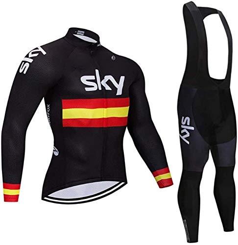 Men's Cycling Jersey Set, Bike Clothing Long Sleeve Outdoor MTB Road Bicycle Shirt,B-XL