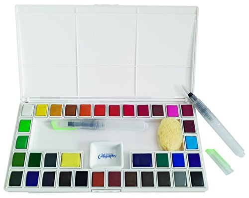 Jerry Q Art 36 Assorted Water Colors Travel Pocket Set- Two Refillable Water Brush with Sponge - Easy to Blend Colors - Porcelain Mixing Tray - Perfect for Painting On The Go JQ-136