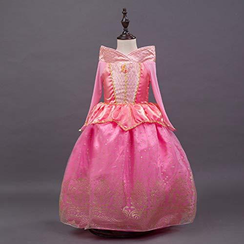 Peanutaso La Bella Durmiente Princesa Hilo de algodón Traje Primavera otoño Vestido Rosa para Princesa Aurora niñas Fiesta Vestido de Fiesta