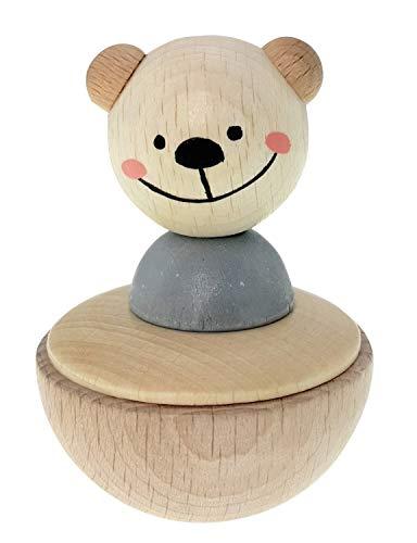 Hess Holzspielzeug 15714 - Stehaufmännchen aus Holz, Bär nature, ab 1 Jahr, ca. 8 x 5 x 5 cm, Geschenk zur Taufe oder zum Geburtstag