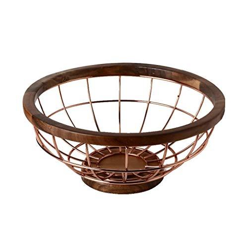 ZLININ Canasta de fruta moderna de alambre de metal cesta de frutas con base de madera, extra grande bocadillos frutos secos almacenamiento cesta