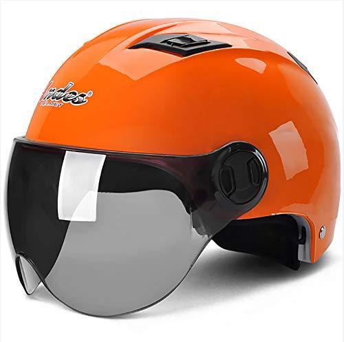 XTGFDC Casco Moto, Verano Transpirable con Luces Traseras De Seguridad Hombres Y Mujeres, ECE Certificado Naranja, Amarillo, Azul Tamaño Universal (56-62Cm)