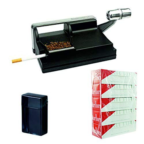 kogu Set, Powermatic Zigarettenstopfmaschine Kunststoff, Stopfgerät für Zigaretten mit Hebel, inklusive 5x200 Marlboro Red Hülsen und Zigarettenbox