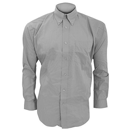 KUSTOM KIT Corporate Oxford Herren Hemd, Langarm (17 Zoll) (Silbergrau)
