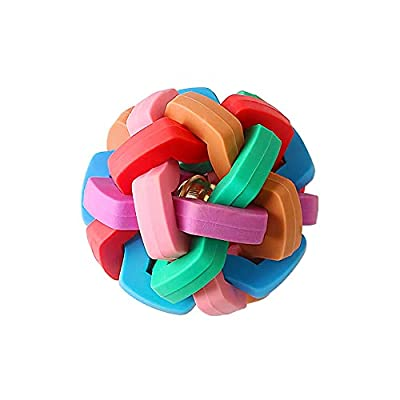 Durable Rubber Dog Toy Ball By with Ring Bell ,Small,Chew And Bite Dog Interactive Toys Pet Game Puzzle Ball to Increase IQ (1 Pack)