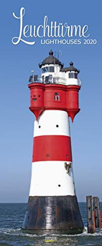 Leuchttürme 2020: Schmaler Wandkalender. Foto-Kunstkalender über den Leuchtturm an der Küste. PhotoArt Vertikal. 28,5 x 69 cm. Edles Foliendeckblatt.