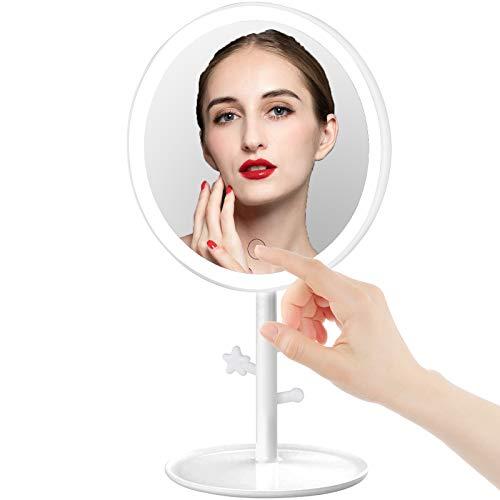 FeelGlad Kosmetikspiegel mit Beleuchtung, Schminkspiegel mit 3 Lichtfarben, Dimmbarer Helligkeit und Touchschalter, USB Aufladbares für Zuhause und Unterwegs