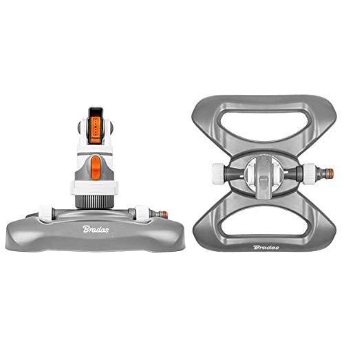 Bradas WL-Z11 White line 4 Funktionen Kreisregner bis 350 qm mit Standfuß, Kunststoff, Weiß, 25x22x19 cm