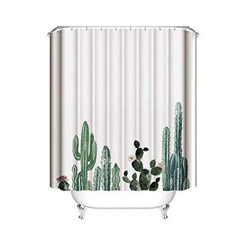 SU-AMEI badkamer douchegordijn, waterdicht douchegordijn, polyester stof schimmel bestendig badkamer gordijn met haken, Cactus patroon
