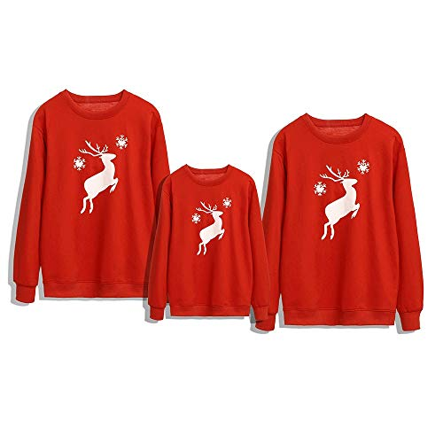 Kerst Sweatshirt Jumper Familie Bijpassende herten Cartoon Gedrukt Vrolijk Kerstmis Trui Blouse Truien Herfst Winter Katoen Warm Tops Xmas Loungewear Kleding Papa Moeder Kids Kind Sets