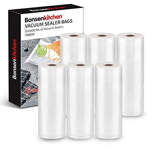 Bonsenkitchen Rollos al Vacio para Envasadora al Vacío, 6 Rollos 20 x 300cm Bolsas de Vacio Gofradas para Conservación de Alimentos y Sous Vide Cocina & Boilable,sin BPA - VB8006