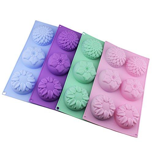 Silikon-Blumen-Kuchenformen mit 4 Mulden, für Fondant-Formen, Eiswürfelformen für selbstgemachte Kuchen, Schokolade, Cupcakes, Violett / Grün / Pink, 6 Packungen