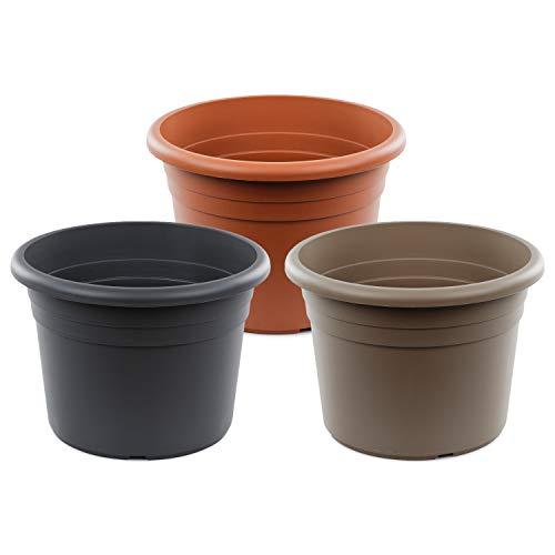 SEEBAUER Garden®   Pflanztopf Diana   Moderne, runde Form   Blumenkübel Pflanztopf Übertopf   Frostsicher & UV-beständig (Anthrazit, 30 cm)
