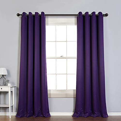 MYSKY HOME Blackout Curtain for Bedroom, Grommet Room Darkening Curtain, Amazing Triple Weave Thermal Insulated Curtain, 1 Curtain Panel (52 x 84 Inch, Royal Purple)