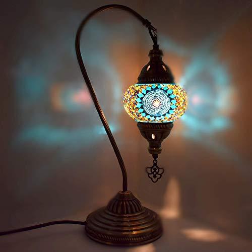 SYyshyin Lámpara de Mesa de Escritorio de Vidrio con lámpara turca/marroquí con Enchufe e Interruptor para el Reino Unido - G16