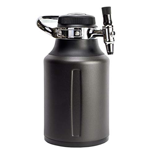 GrowlerWerks uKeg Go Carbonated Growler and Craft Beverage Dispenser for Beer, Soda, Cider, Kombucha and Cocktails, 64 oz, Tungsten