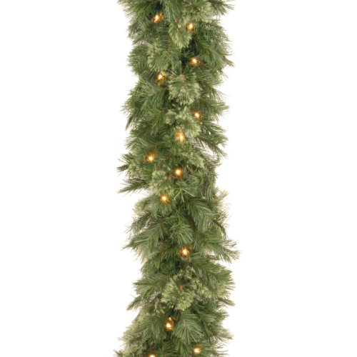 National Tree Wispy Willow Pre-lit Artificial Christmas Garland, 108X10X6