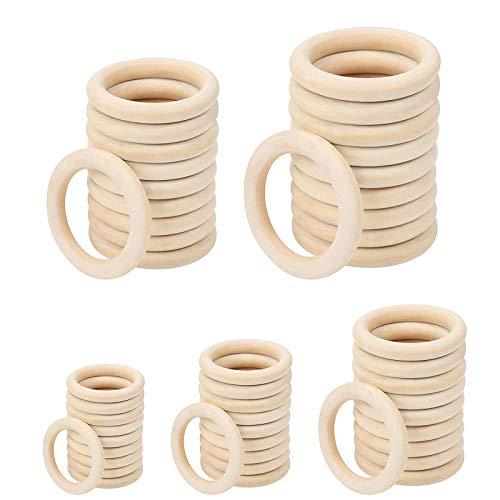Popuppe 50 Stück Naturholz-Ringe Holz-Ringe Glatt Unlackierter Holzring für Handwerk, Ring Anhänger und Verbindungsstücke zur Schmuckherstellung (20 mm, 30 mm, 40 mm, 50 mm, 60 mm)