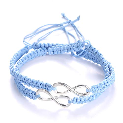 ciriQQ - Pulsera de amistad con diseño de infinito, diseño de amor infinito, 2 unidades, incluye pulsera de inspiración para regalo para mujer, cumpleaños, hombres, mamá, amiga, caja de regalo
