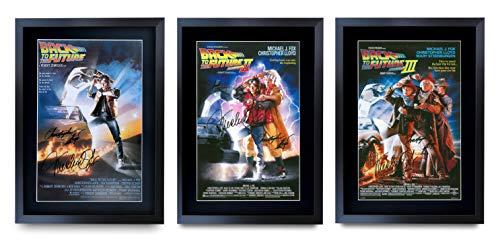 HWC Trading A3 FR Back to The Future - Poster Completo con Cornice e autografo, Motivo: Christopher Lloyd Michael J Fox