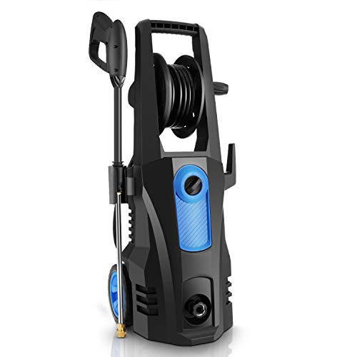 TEANDE 3500 PSI Electric Pressure Washer, 2.6 GPM 1800W Power Washer with Hose Reel, 4 Adjustable Nozzles, Spray Gun, Rolling Wheels and Soap Tank for Patio Garden Blue