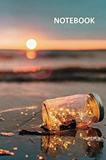 Notebook: Lights in a jar Charming Composition Book Daily Journal Notepad Diary Student for notes on beach honeymoon packing list