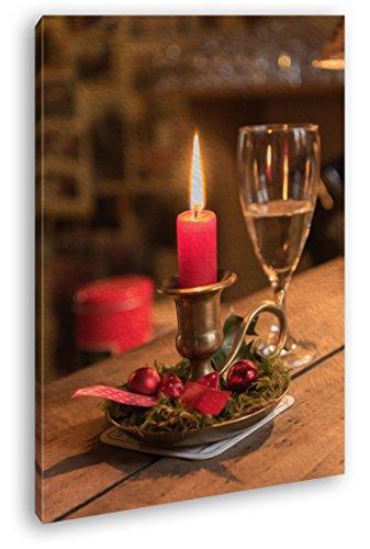 deyoli schöne Kerze mit Sektglas Effekt: Zeichnung im Format: 80x60 als Leinwandbild, Motiv fertig gerahmt auf Echtholzrahmen, Hochwertiger Digitaldruck mit Rahmen, Kein Poster oder Plakat
