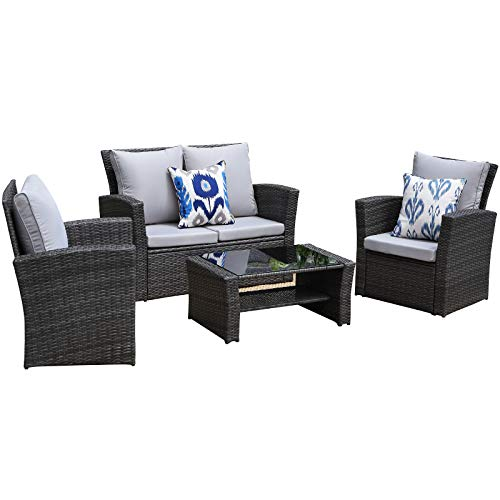 Wisteria Lane Outdoor Patio Furniture Set,5 Piece Conversation Set Wicker Sectional Sofa Couch Rattan Chair Table,Gray