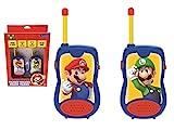 LEXIBOOK- Nintendo Super Mario Walkie-talkies, Pinza para Colgar del cinturón, batería, para Niños, Azul/Rojo (TW12NI)
