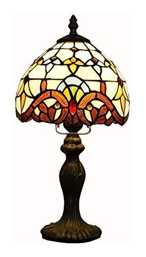 Lámpara de Vitral Lámpara de escritorio de estilo Tiffany barroca de la vendimia hecha a mano E27 lámpara de mesa de cristal de cabecera luz decorativa de 8 pulgadas Mesita Noche Tiffany Vitral