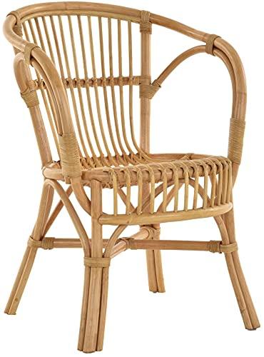 Klassischer Flecht-Sessel im skandinavischem Stil/Korb-Stuhl aus Natur-Rattan (Honig)