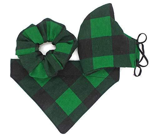 St. Patricks Day Green Bufallo Plaid Dog Bandana, Face Mask and Scrunchie Gift Set, Dog Bandana over Collar, Christmas Apparel for Dog or Cat