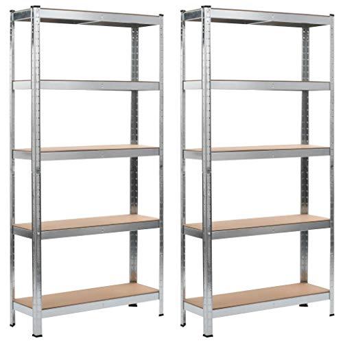 Set 2 Estanterias Metálicas de 5 niveles, Baldas extraíble, Estantería de Almacenamiento de garaje, Carga máxima de 875kg, 90 x 30 x 180 cm