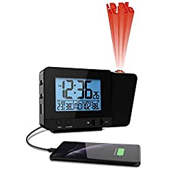 Think Gizmos Atomic Projection Clock with Temperature TG644 – Ceiling/Wall Projector Alarm Clock for Bedroom with 2 Alarms, Hygrometer and USB Port for Charging Devices (Black)