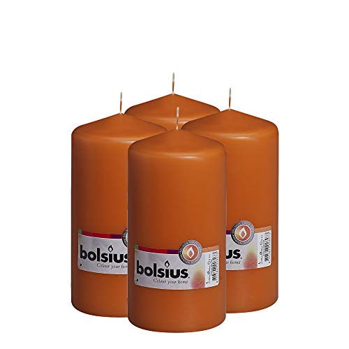 BOLSIUS Set of 4 Pillar Candles 3' x 6' Orange - Unscented Dripless - -Clean Burning Smokeless Dinner Candles for Wedding & Home Decor Party Restaurant Spa- Individually Wrapped