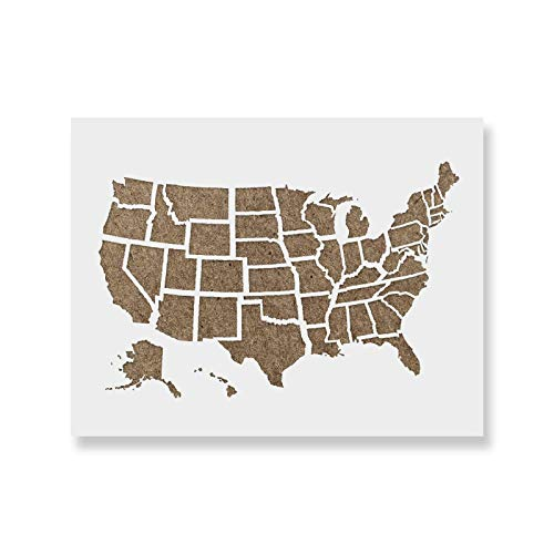 United States Map Outline Stencil - Reusable Stencils for Painting - Mylar Stencil for Crafts and Decorations