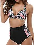 Conjunto de Bikini Sexy Traje de baño para Mujer Traje de baño para niña Bikini Cintura Alta Bragas Inferiores Imprimir Traje de baño de natación en la Playa de Verano