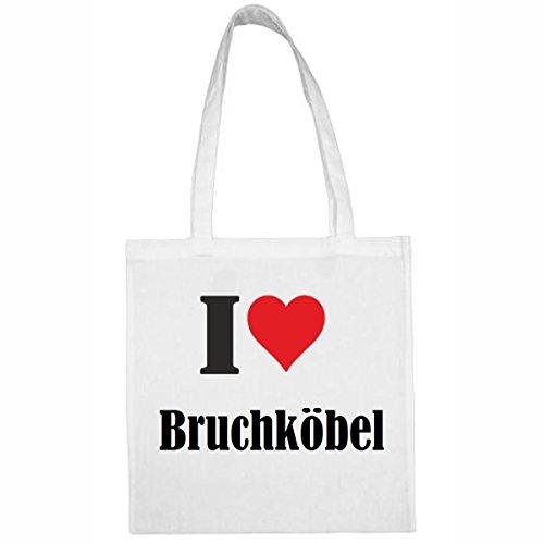 Tasche I Love Bruchköbel Größe 38x42 Farbe Weiss Druck Schwarz