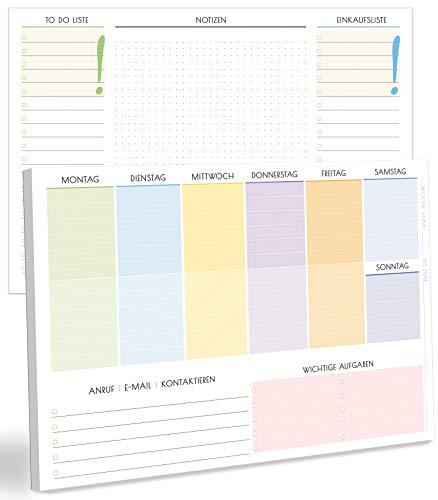 blaash® Wochenplaner Block DIN A4 ohne festes Datum   50 Seiten Planer mit Wochenübersicht, Listen für Aufgaben, Notizen & Ideen   Optimale Organisation & Motivation im Alltag   Business