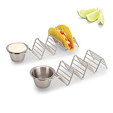 2LB Depot Taco Holder with Salsa, Guacamole Cup, Premium 18/8 Stainless Steel, Each Stand Holds 3 Hard Shell Tacos, Set of 2