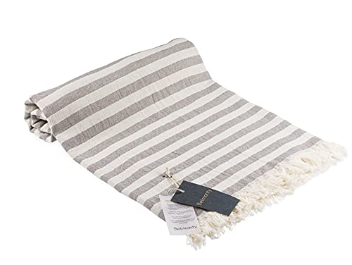 Belmonty Toalla de playa de lujo, 100% algodón, 35 x 63 pulgadas, peshtemal, para spa, playa, piscina, gimnasio y baño (beige - antracita)